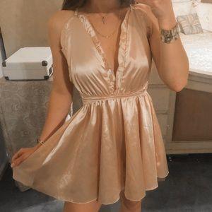 Vintage Rose Gold Backless Dressy Silk Tie Romper